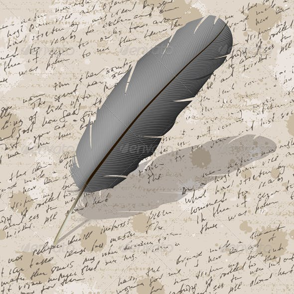 Background with Hand Writing and Feather
