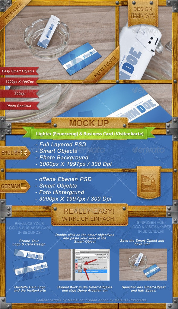 Lighter Logo and Business Card Mock-Up - Business Cards Print