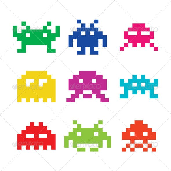 Space invaders 8bit Aliens Icon Set