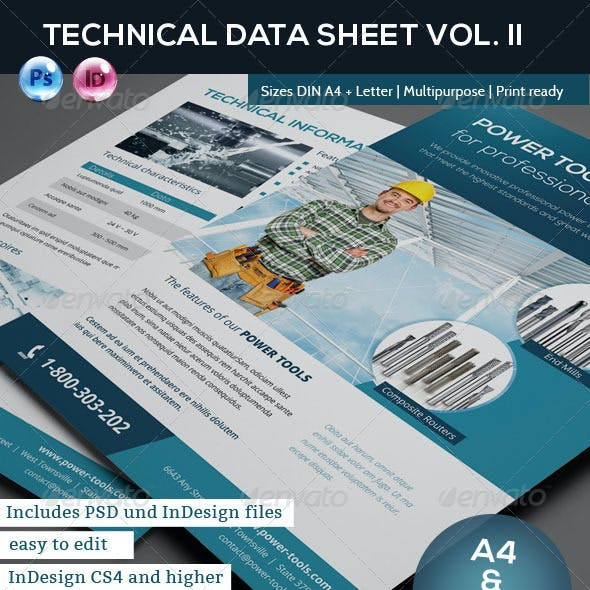 Technical Data or Product Sheet Vol. II