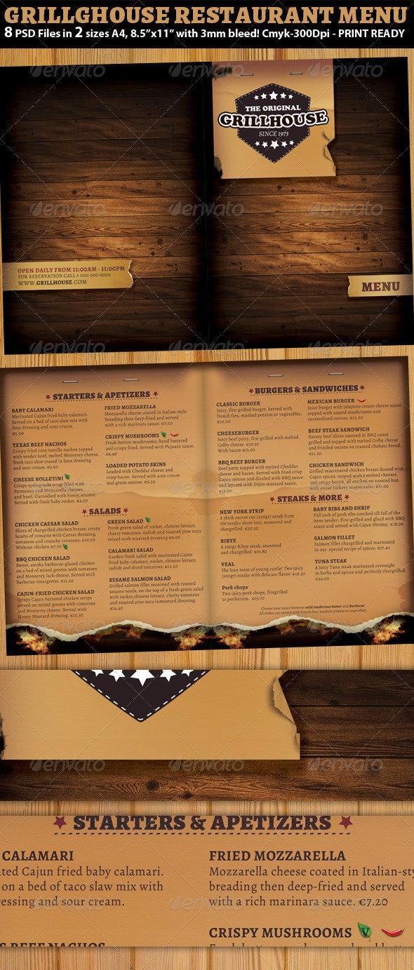 Grill Restaurant Menu Template - Food Menus Print Templates