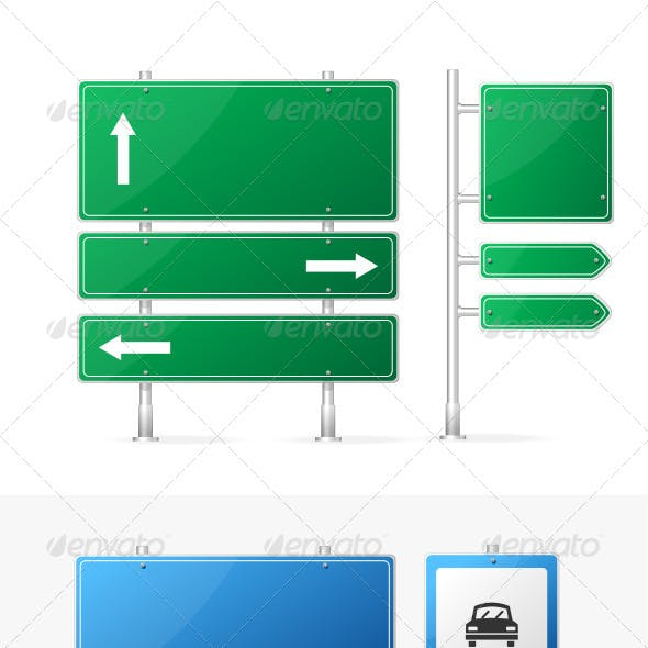 Vector Blank Green and Blue Road Sign