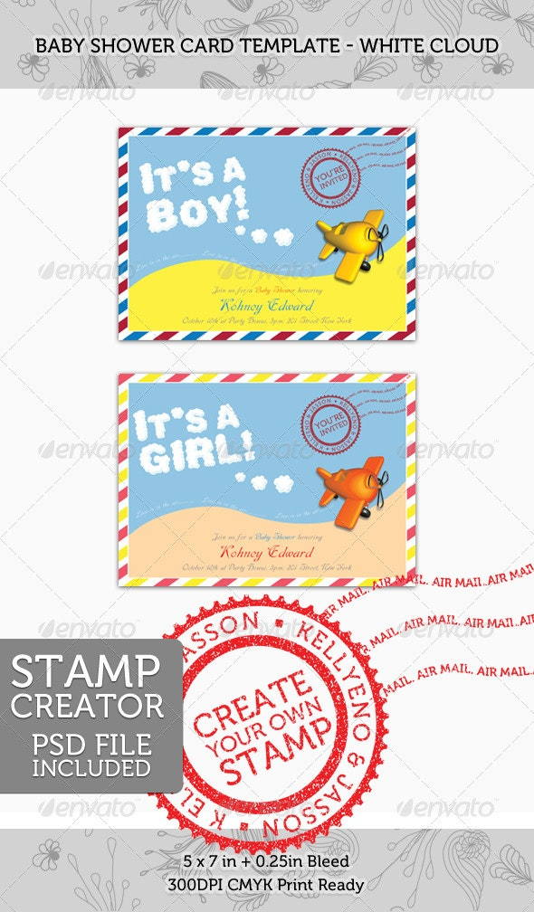 Baby Shower Invitation Card 03 - White Cloud Mail - Family Cards & Invites