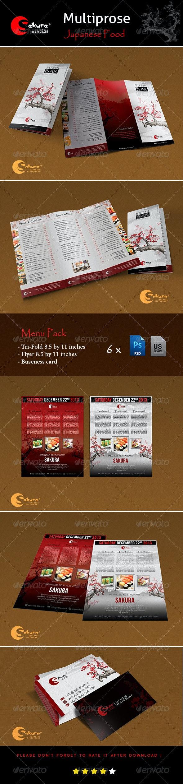 """Menu Pack """"Sakura"""" - Food Menus Print Templates"""