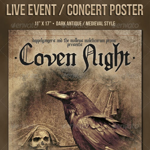 The Coven Dark Medieval Style Metal Concert Poster