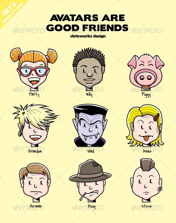 Avatars Are Good Friends - Set 2 - People Characters