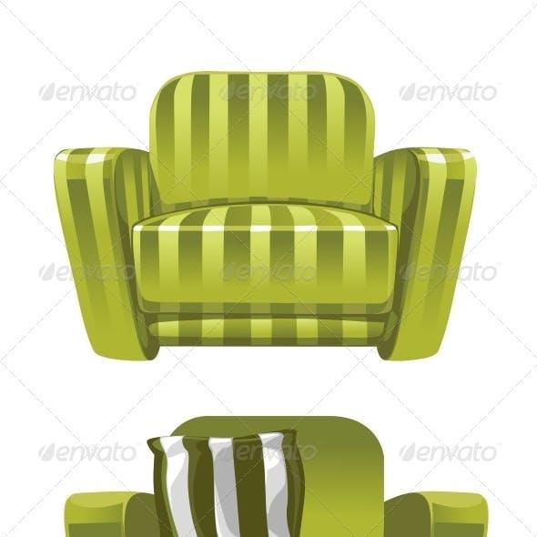Green Soft Stripped Armchair