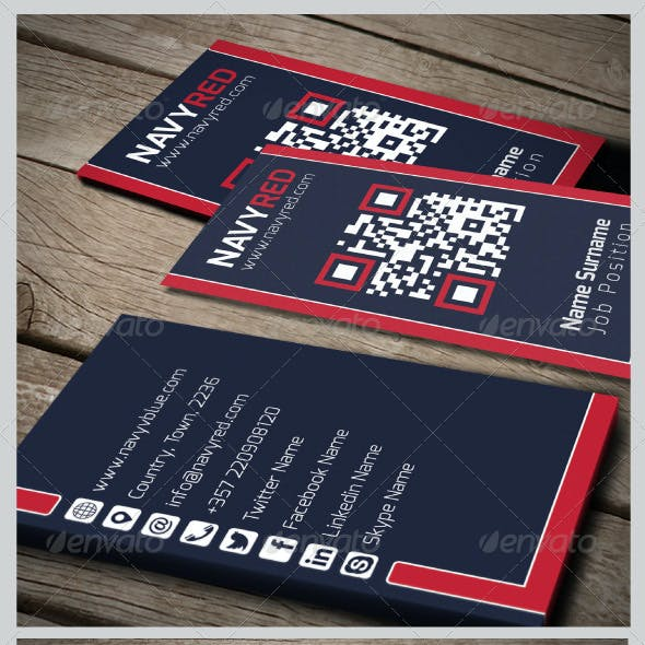 Navy Red Business Card