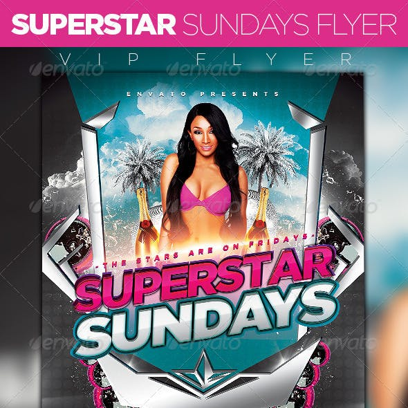 Superstar Sundays Party Flyer