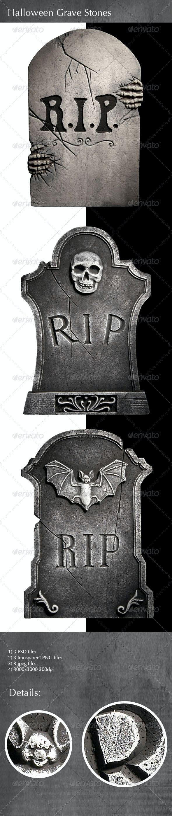 Halloween Grave Stones - Miscellaneous Isolated Objects