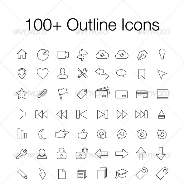100+ Outline Icons