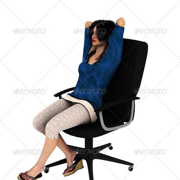 Girl Sitting On Chair Relaxing