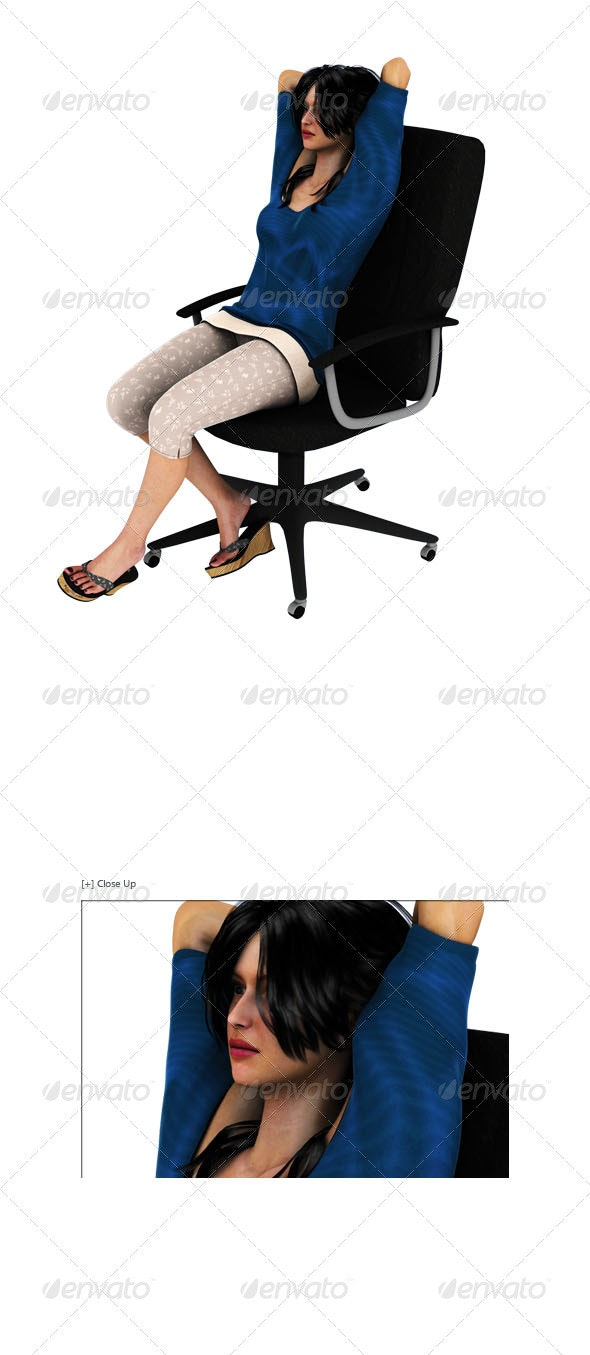 Girl Sitting On Chair Relaxing - Characters 3D Renders