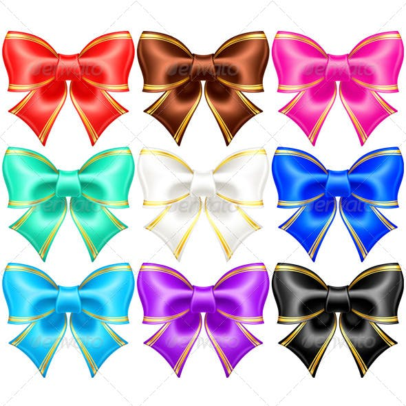Silk Bows with Golden Edging