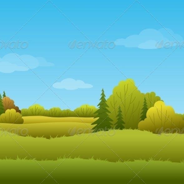 Seamless Background, Autumn Landscape