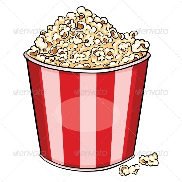 Vector Cartoon Plastic Bowl with Popcorn