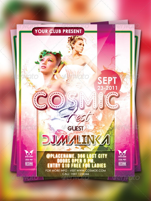 Cosmic Fest Flyer Template - Clubs & Parties Events