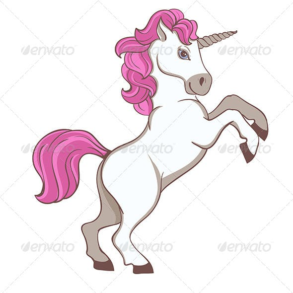 White Unicorn with Pink Tail and Mane