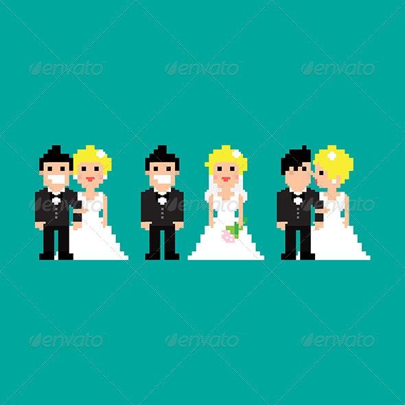 Pixel Art Wedding - People Characters