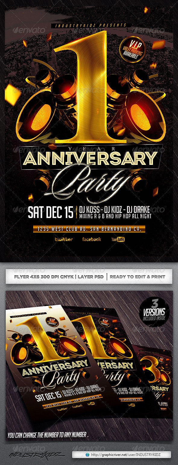 Anniversary Party Flyer Template - Clubs & Parties Events