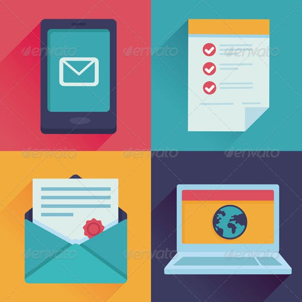 Vector Communication Icons in Flat Retro Style