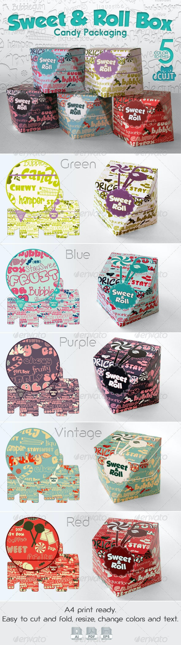 Sweet & Roll Candy Box - Packaging Print Templates
