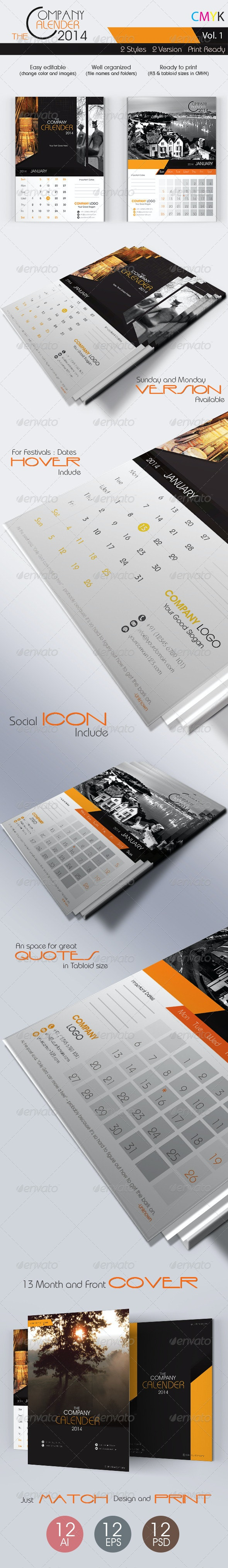 The Company Calenders 2014 - Calendars Stationery