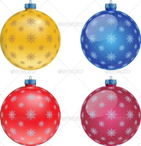 Colorful Christmas Balls.Set Of Colorful Christmas Balls Illustration