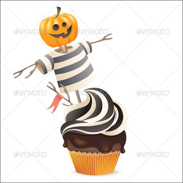 Halloween Cupcake with Scarecrow Decoration