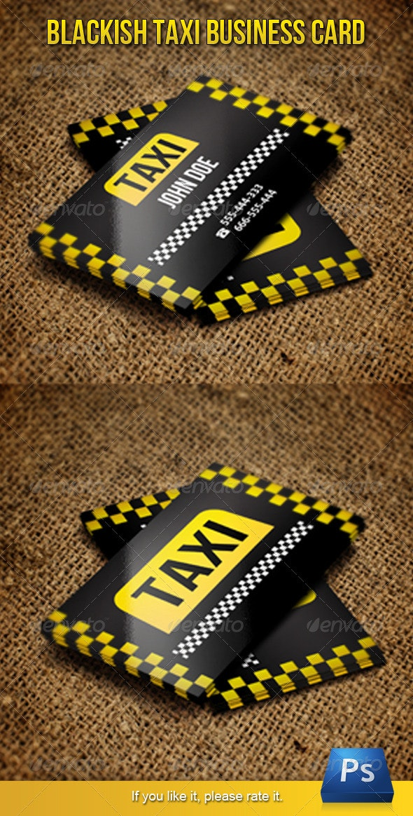 Blackish Taxi Business Card - Industry Specific Business Cards