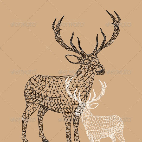 Christmas Reindeer with Geometric Pattern