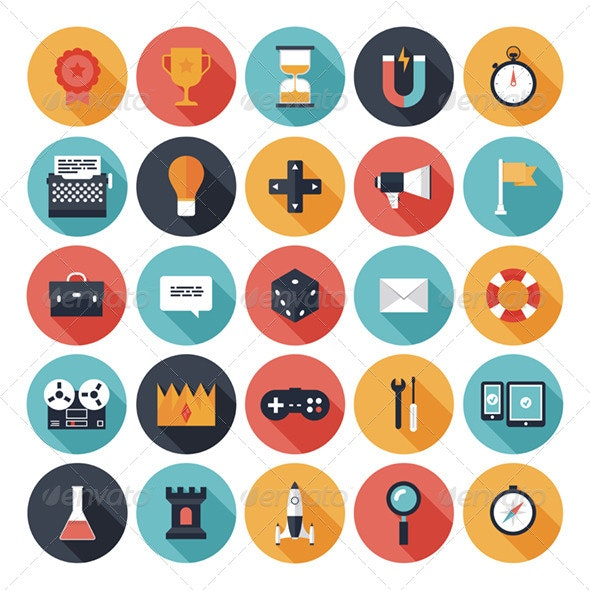 Game Design Flat Icons Set - Software Icons
