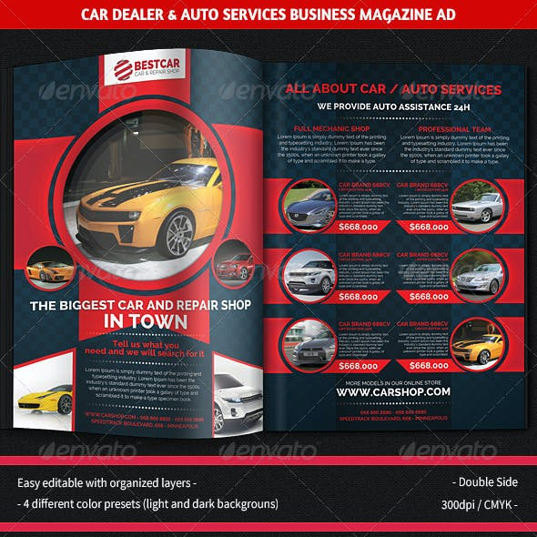 Car Dealer & Auto Services Business Magazine Ad