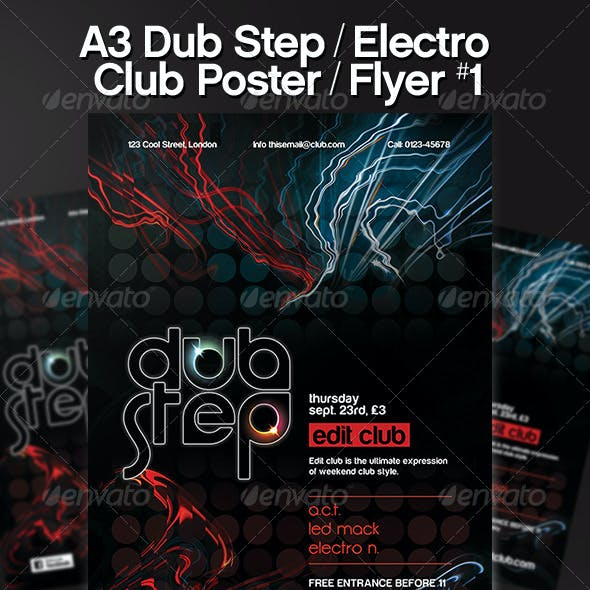 Dub Step Electro Glow Club Party Poster / Flyer #1