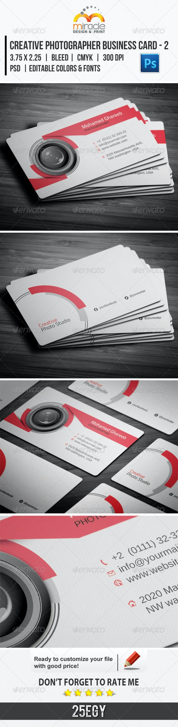 Creative Photographer Business Card - 2 - Creative Business Cards