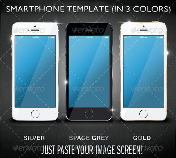 Layered SmartPhone Mockup in 3 Colors - Product Mock-Ups Graphics
