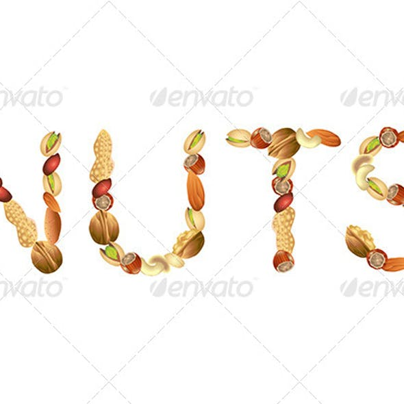Nuts Word From Seeds Vector