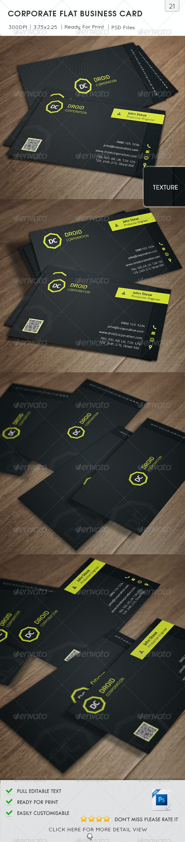 Corporate Flat Business Card v21 - Corporate Business Cards