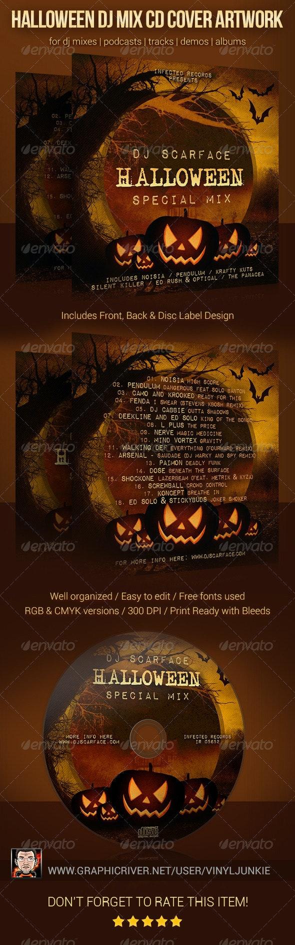 Halloween DJ Mix CD Cover Artwork Template - CD & DVD Artwork Print Templates