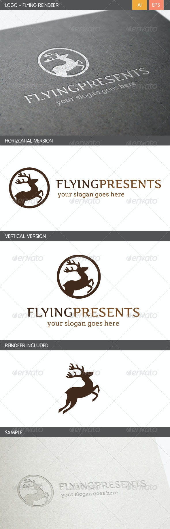 Flying Reindeer Logo - Animals Logo Templates