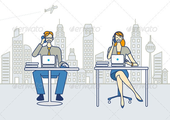 Man and Woman Working in an Office - Business Conceptual