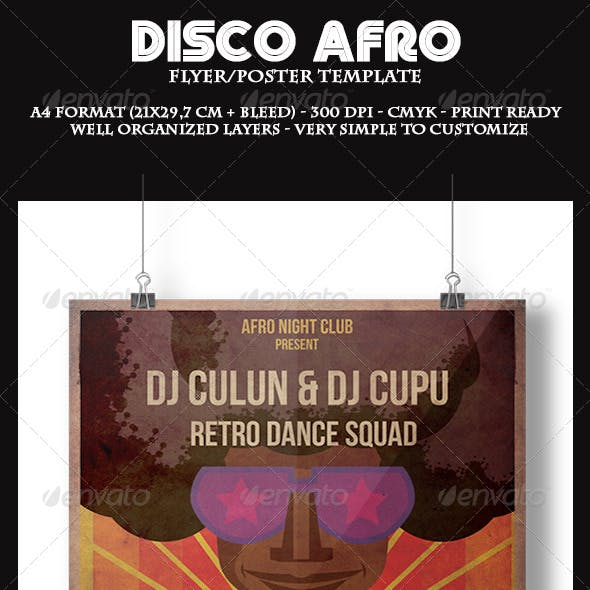 Disco Afro Flyer Template