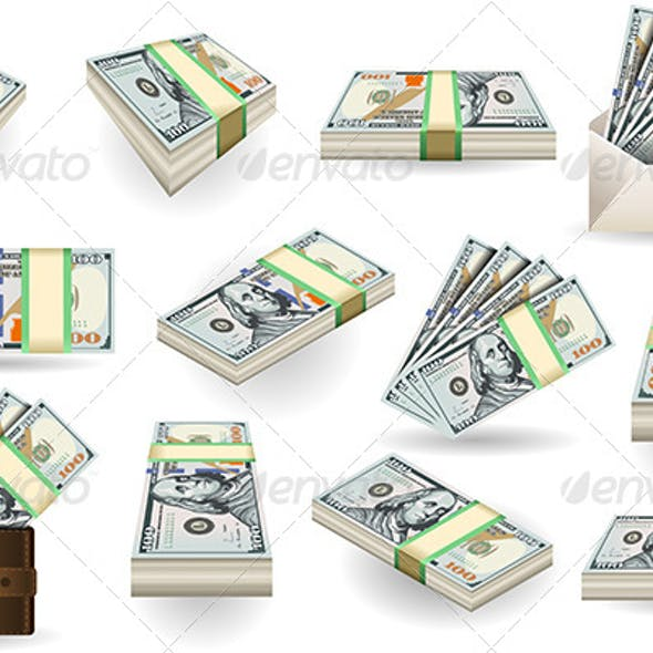 Set of One Hundred Dollars Banknotes