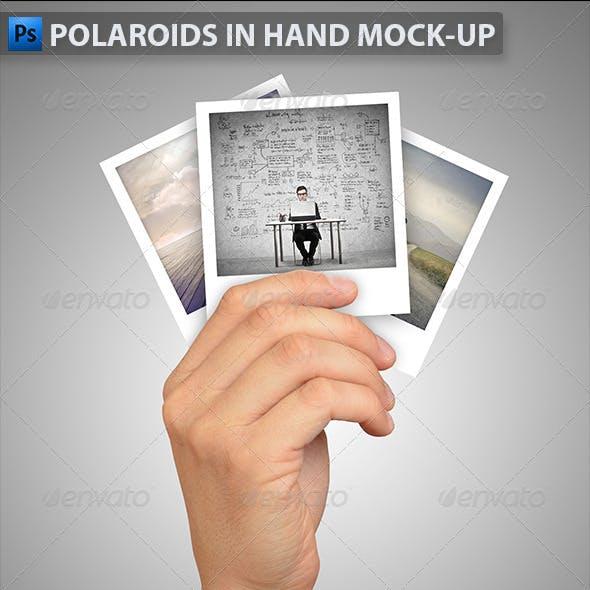Polaroids in Hand Mock-Up