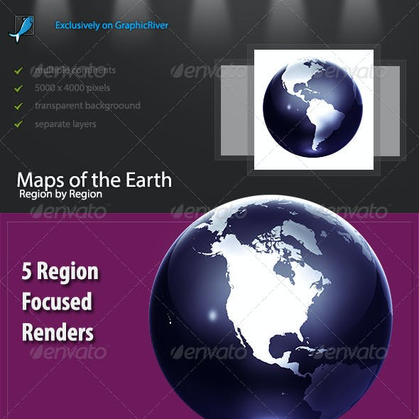 Blue Earth Globe - Continents and Regions