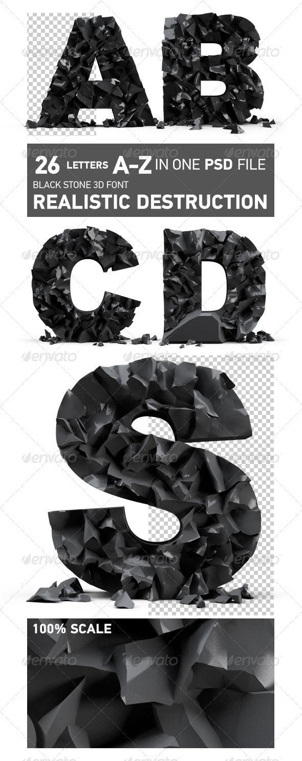 Black stone 3d font, realistic destruction - Text 3D Renders