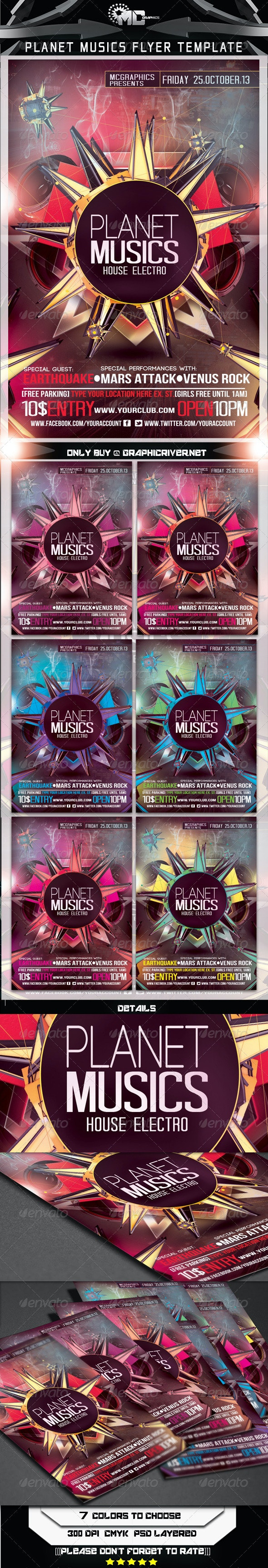 Planet Music Flyer Template - Clubs & Parties Events