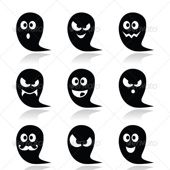 Halloween Ghost Vector Icons Set