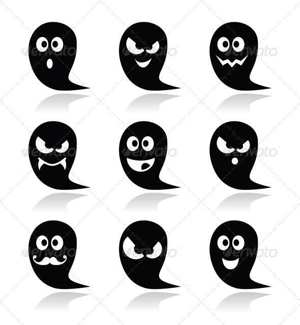 Halloween Ghost Vector Icons Set - Halloween Seasons/Holidays