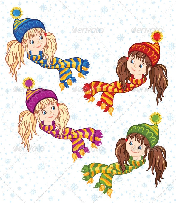 Little Girls in the Knitted Caps and Scarfs - People Characters